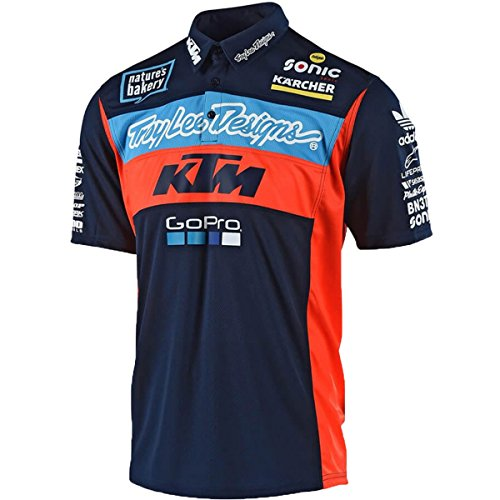 Troy Lee Designs Official Team KTM Licensed Pit Polo Shirt 2018 (XX-Large, Navy)  ()