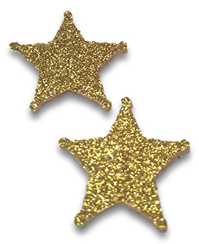 "Custom & Fancy {1'' Inch} Approx 100 Pieces of ""Table"" Party Confetti Made of Premium Card Stock w/ Western Rodeo Cowboy Glitter Sheriff's Star Badge Decorative Scatter Topper Design [Gold] by mySimple Products"