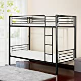 Mertax Merax Twin-Over-Twin Metal Bunk Bed in Silver Finish (Black.)