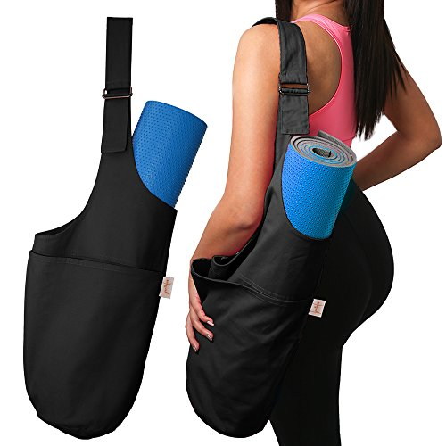SporthoCare Yoga Mat Bag Carrier | Multifunctional with Adjustable Shoulder Strap | Yoga Mat Tote w/Large Side Pocket & Zipper Pocket | Fits Most Size Yoga Mats | Kit with Yoga Ebook