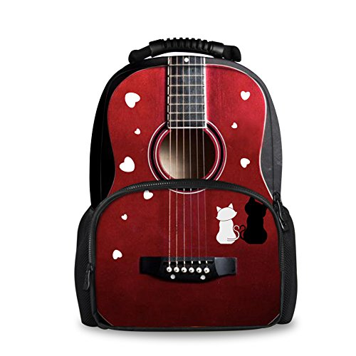 Price comparison product image Coloranimal Personalized 3D Music Guitar Mens Casual School Backpack