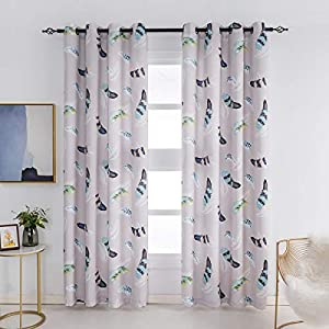 Kotile Feather Curtains Pattern 2 Panels – Thermal Insulated Room Darkening Grommet Window Curtains for Living Rooom…