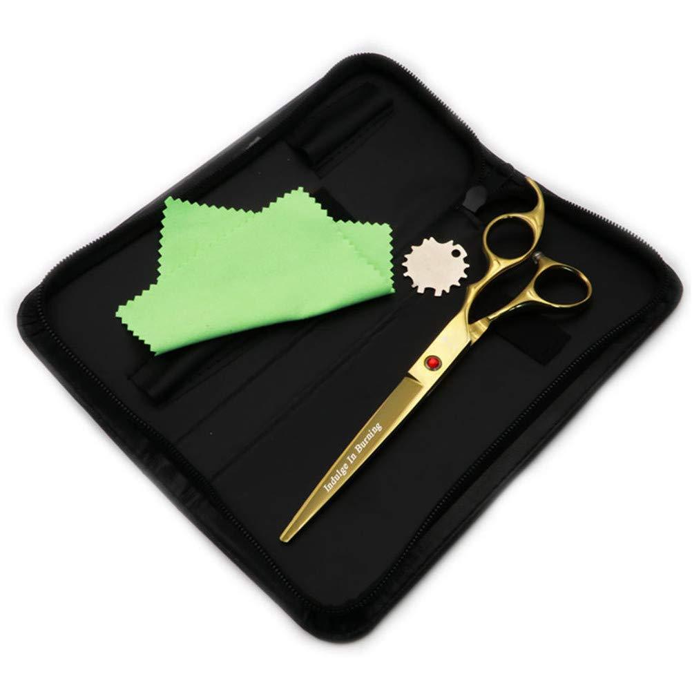 7 Inch Pet Scissors Dog Grooming Hair Cut Plating gold Series Straight Scissor with Scissor Bag