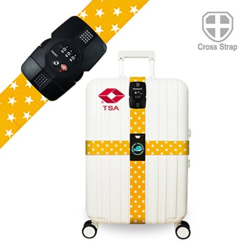 Luggage Straps TSA Approved Lock Long Cross Strap Adjustable Suitcase Belt with...