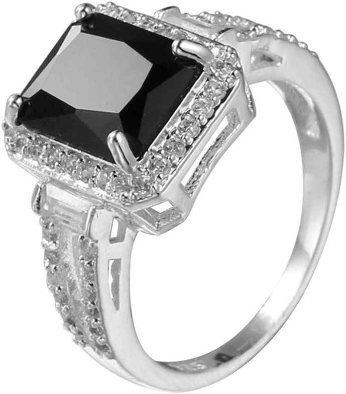 Black Square Diamond Around Cubic Zirconia Rings for Women Wedding Engagement Anniversary Jewelry Gift Under 5 Dollar