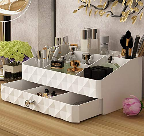 Makeup Organizer,Unique Cosmetic Makeup and Jewelry Storage Case Drawers Display Boxes with 8 Compartments Top (Small)