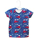 Pink and Blue Steam Engine Children's Blue T-shirt with Train Pattern