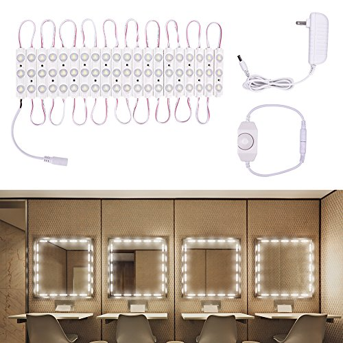 Viugreum Makeup Mirror Lights, Dimmable 60Leds LED Vanity Light Kits, 10FT 1200LM Daylight White 6000K Waterproof DIY Module Lights with Switch Dimmer for Bathroom Cosmetic Makeup Vanity Table by Viugreum (Image #7)