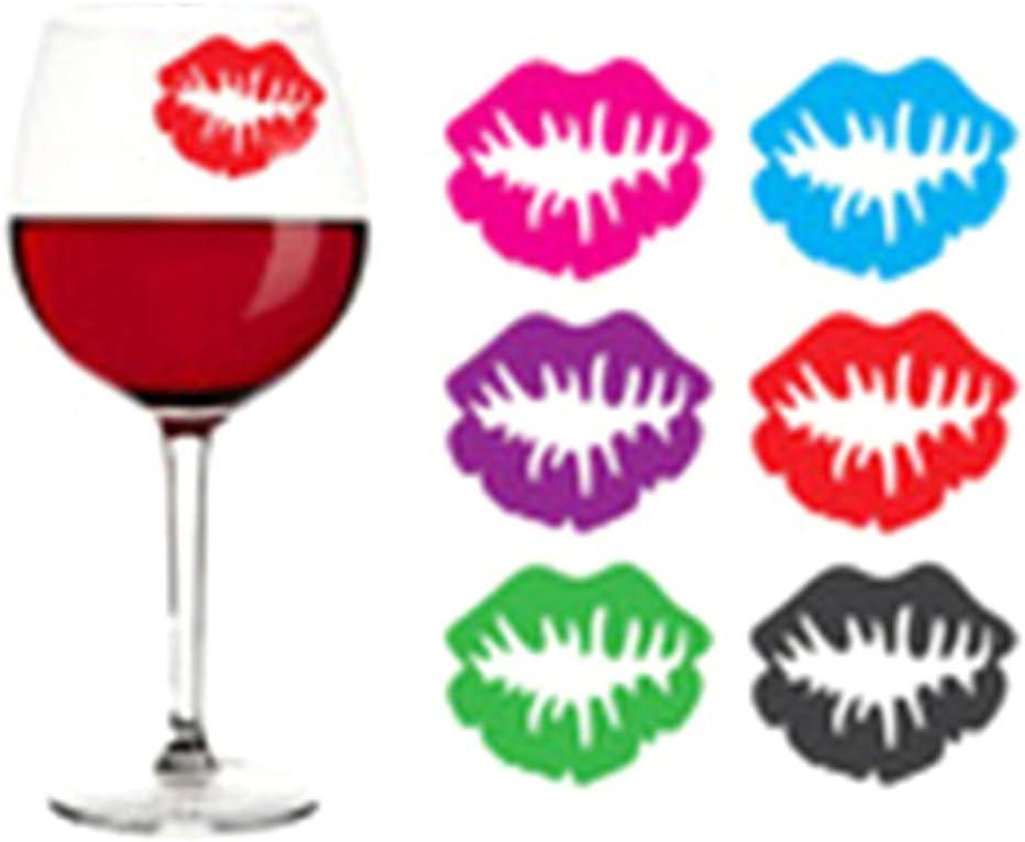 Glamour f/ür Weingl/äser A0127 12 St/ück Glasmarke aus Silikon f/ür Lippen