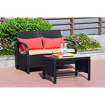Cloud Mountain 2 PC Rattan Loveseat Sofa Furniture Bistro Set Outdoor  Wicker Patio Garden Loveseat Glass Top Table, Black Rattan With Khaki  Cushions