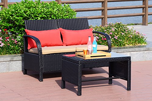 Cloud Mountain Patio 2 PC Wicker Loveseat Sofa Rattan Furniture Set Outdoor Garden Loveseat Glass Top Table, Black Rattan with Khaki Cushions