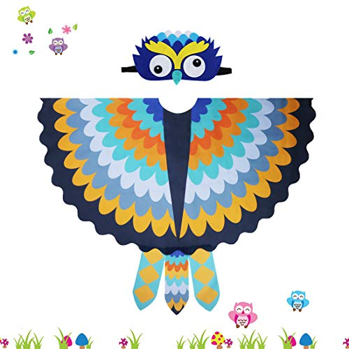 Kids Cozy Owl Bird Wings Costume Feathered with Headdress - Toddlers Animal Dress-up Cosplay Cape (#5 Yellow-Blue) (Bird Masks Children)