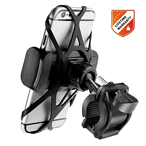 FOXNOV Bike Phone Mount Bicycle Holder, Universal Cell Phone Bicycle Rack Handlebar & Motorcycle Holder Cradle for Smartphone Phones Up To 3.5 Wide, Boating GPS