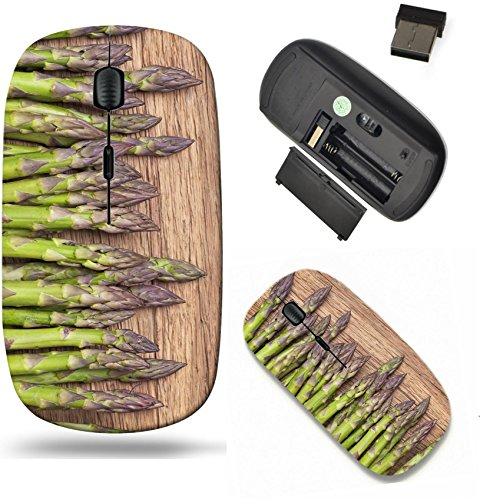 Liili Wireless Mouse Travel 2.4G Wireless Mice with USB Receiver, Click with 1000 DPI for notebook, pc, laptop, computer, mac book Green asparagus on a wooden background IMAGE ID