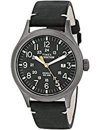 Men's TW4B01900 Expedition Scout Black Leather Strap Watch