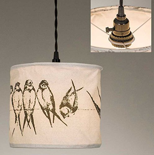 Birds on a Wire Canvas Pendant Lamp ()