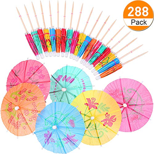 BOAO 288 Pieces Colors Flowers Drinks Cocktail Umbrella Decor, Cupcake Toppers Umbrella Paper Cocktail Drink Parasols Tropical Drink Umbrella Picks for Hawaiian Party and Pool Party Supplies by Boao (Image #1)