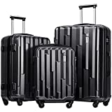 Merax Luggage set 3 piece luggages Suitcase with TSA lock (Black)