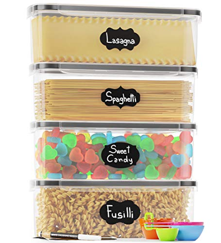 Pasta Storage Containers for Pantry – Airtight & BPA-Free Plastic, Ideal for Pasta, Spaghetti & Noodles, Kitchen Pantry…