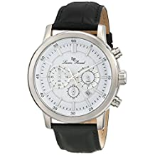 Lucien Piccard Men's 12011-02 Monte Viso Chronograph White Textured Dial Black Leather Watch