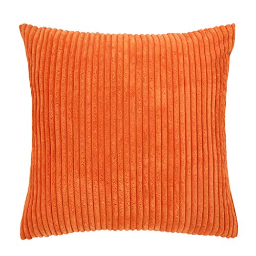 famibay Super Soft Cushion Cover 18 x 18,Decorative Square Striped Velvet Corduroy Throw Pillow Case Cover with Zipper (18