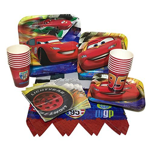 Disney Cars Birthday Party Bundle With Plates, Napkins, Cups & Tablecover (16 Guests) by Custom Bundle