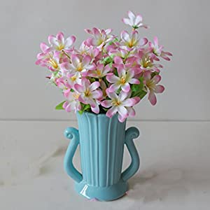 Artificial Flowers,Feicuan Fake Silk Leaves Lilies Narcissus Wedding Bouquet 18 Heads Table Adornment Party Room Home Floral Decorations 44
