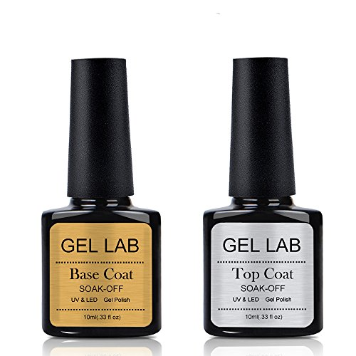 GEL LAB Base Coat No Wipe Top Coat Set for Soak off Gel Nail
