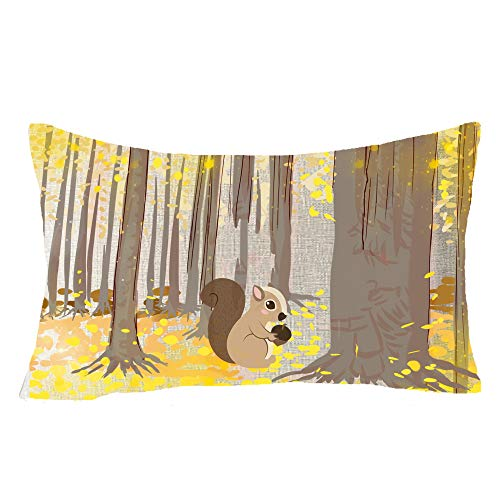 Happy Fall Y All Forest Ginkgo Tree Squirrel Pine Cone Wild Animal Fruits Lumbar Cotton Linen Throw Waist Pillow Case Decorative Cushion Cover Sofa 12x20 inches