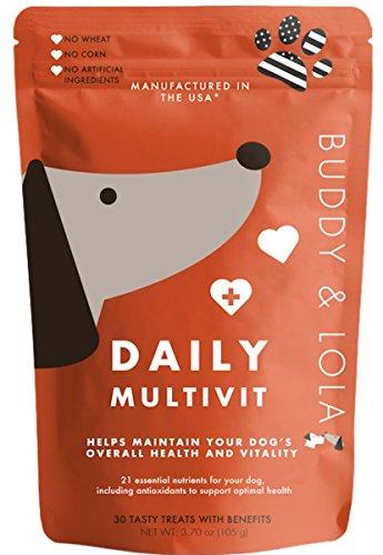 Advanced Multivitamin Chews – Daily Dog Vitamins & Mineral Nutritional Supplement - Soft Chew Treats for Small & Large Dogs by Buddy & Lola
