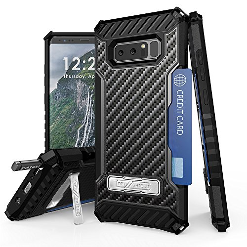 Galaxy Note 8 Case, Trishield Durable Shockproof High Impact Rugged Armor Phone Cover With Detachable Lanyard Loop Card Slot Built In Kickstand For Note 8 - Carbon Fiber Black