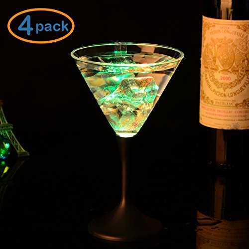 LOHOME LED Glowing Cup, 4 Pack 8 Oz LED Light Up Flashing Martini Cocktail Glasses Blinking Wine Champagne Glow Cups Barware Stemware (4, (Light Up Martini Glasses)
