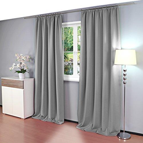 Gräfenstayn Alana Verdunklungsgardinen / Thermogardinen ca. 135 x 245 cm mit Universal-Kräuselband Gardine Vorhang (Grau)