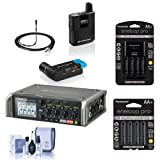 Sennheiser AVX-MKE2 Camera Mountable Lavalier Pro Wireless Set, 1880-1930MHz - Bundle with Zoom F4 Multitrack Field Recorder, Cleaning Kit, Panasonic Charger with 4 AA Batteries, 4x AA NiMH Batteries