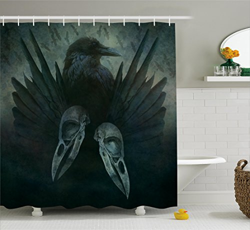Ambesonne Gothic Decor Collection, Crow Spirit Wings Haunting Magic Mysticism Dark Shadowy Occult Art Print, Polyester Fabric Bathroom Shower Curtain Set with Hooks, Cobalt Black