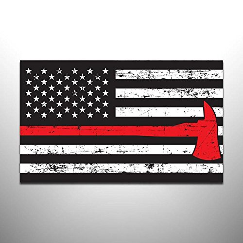 - JMM Industries Thin Red Line Flag Vinyl Decal Sticker Firefighter Law Enforcement Military Support Distressed with Axe 2 Pack 5-Inches by 3-Inches Premium Quality UV Resistant Laminate PDS891