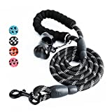 #5: Fukkie 5 FT Strong Dog Leash with Comfortable Padded Handle and Highly Reflective Threads, Heavy Duty Nylon Rope Leashes for Medium and Large Dogs, Black