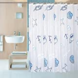 #1: Shower Curtain Liner with 12 Curtain Hooks Clear Shower Curtain Liner Mildew Resistant Waterproof Plastic Shower Curtain Liner Seashell Conch Starfish 72×72 Inch Shower Curtain Liner by Yivion