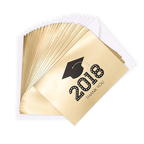 UPC 009200402348, Hallmark Graduation Thank You Notes, 20 Notecards and 20 Envelopes (2018 Gold and Black Mortarboard)