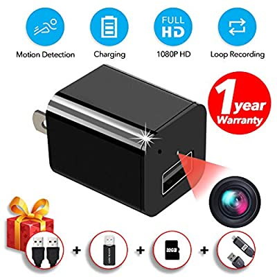 Spy Camera Charger, Hidden Camera,with 32GB SD Card and Reader,Smart Motion Detection,Video HD 1080P,Plug and Play, USB Charger Camera,Hidden Nanny Camera,Security Cameras for Homes,by HZTCAM