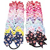 TATGB Children Girls Handmade Bow Floral Print Hair Ring Rope Accessories 20PC