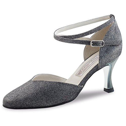 5 Schwarz Silber Kern Multi Absatz Damen cm Brokat 6 Tanzschuhe Lack Abby Werner q8vXTvw