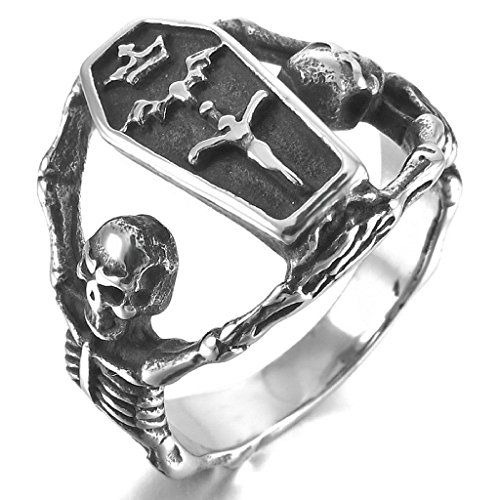 MoAndy Mens Stainless Steel Rings Silver Black Jesus Christ Crucifix Cross Skull Coffin Vintage Size 12