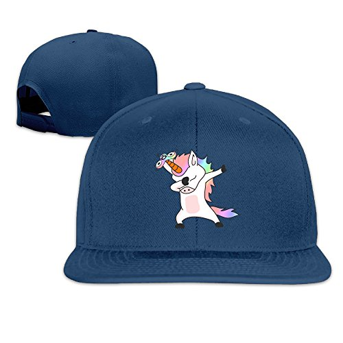 Bill Dance Halloween Costume - Unicorns Dabbing Flat Bill Snapback Adjustable Jogging Caps Navy