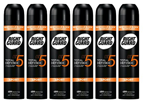 Right Guard Total Defence 5 Clean Anti-Perspirant Aerosol Deodorant 250 ml - Pack of 6 Schwarzkopf & Henkel 05012583500872