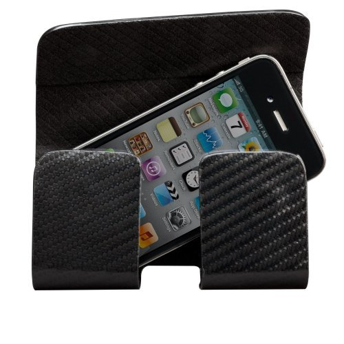 iPhone 4 / 4S Horizontal Hipster with Black Lining Black Carbon Fiber