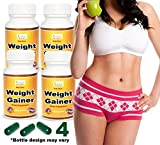 Ayurleaf Weight Gainer - Ladies Weight Gain Formula. Gain weight pills for women. Helps skinny Women gain voluptuous curves. Legs, Butt & Bust Butt Enhancer. Fast Weight for women. (4) Four Bottles