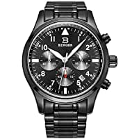 BINGER Mens Date Black Sports Chronograph Watches Stopwatch Stainless Steel Luminous Numerals
