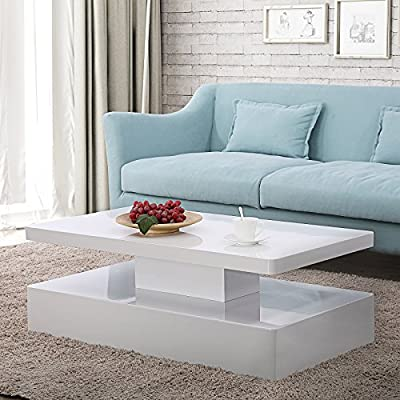 Mecor Modern Glossy White Coffee Table W/LED Lighting, Contemporary Rectangle Design Living Room Furniture, 2 Tires
