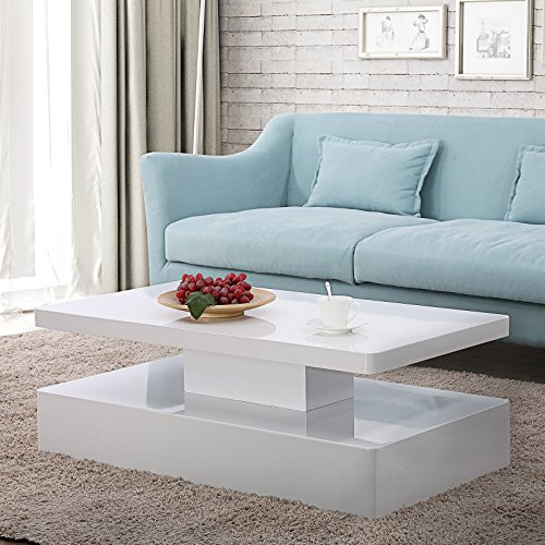 Mecor Modern Glossy White Coffee Table W/LED Lighting, Contemporary Rectangle Design Living Room Furniture (White Room Table Living)